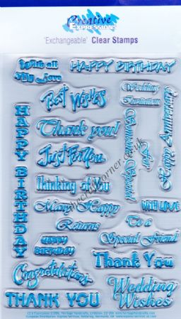 Expressions 18 Different Greetings Clear Unmounted Rubber Stamp Set